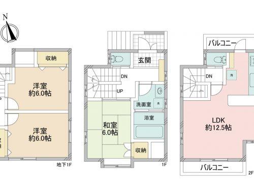 3LDK、土地面積66.79㎡、建物面積78.1㎡(間取)