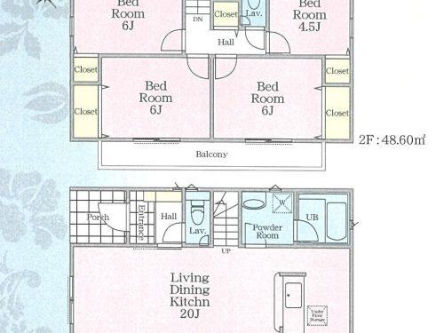 (1号棟)、価格4380万円、4LDK、土地面積110.42㎡、建物面積93.96㎡(間取)