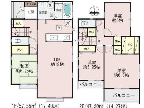 (1号棟)、価格4690万円、4LDK、土地面積180.75㎡、建物面積104.75㎡(間取)