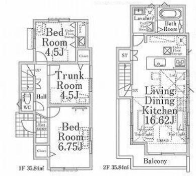 2号棟、価格3780万円、3LDK、土地面積89.61㎡、建物面積71.68㎡(間取)