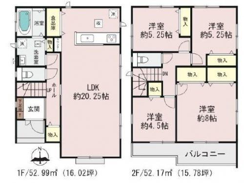 (2号棟)、価格4490万円、4LDK、土地面積175.02㎡、建物面積105.16㎡(間取)
