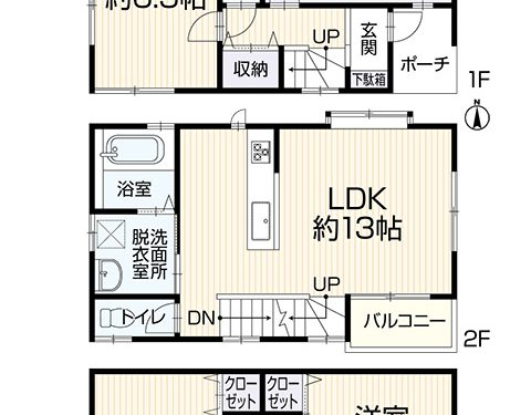 3SLDK、建物91.9㎡(間取)