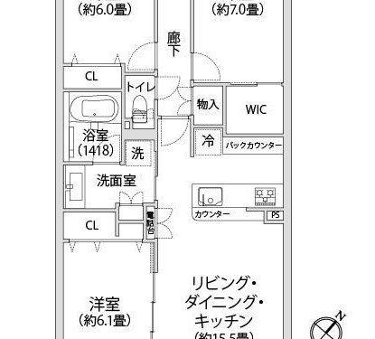 3LDK、専有面積77.65㎡、バルコニー面積12.18㎡(間取)