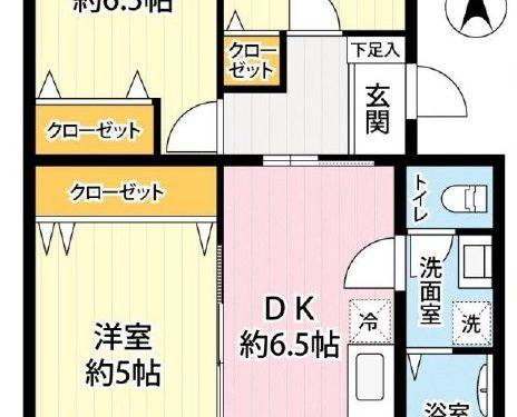 3DK、専有面積51.78㎡、バルコニー面積6.77㎡(間取)