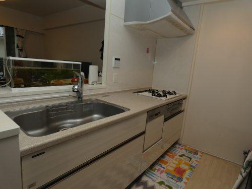 システムキッチンは食器洗浄乾燥機に浄水器なども設置され設備も充実!(キッチン)