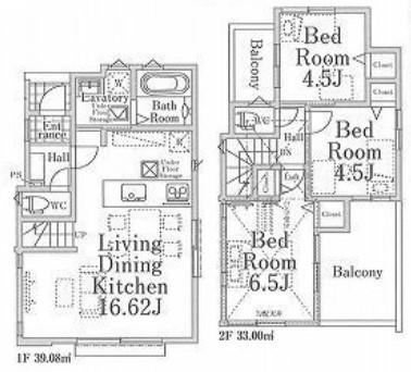1号棟、価格3980万円、3LDK、土地面積90.11㎡、建物面積72.08㎡(間取)